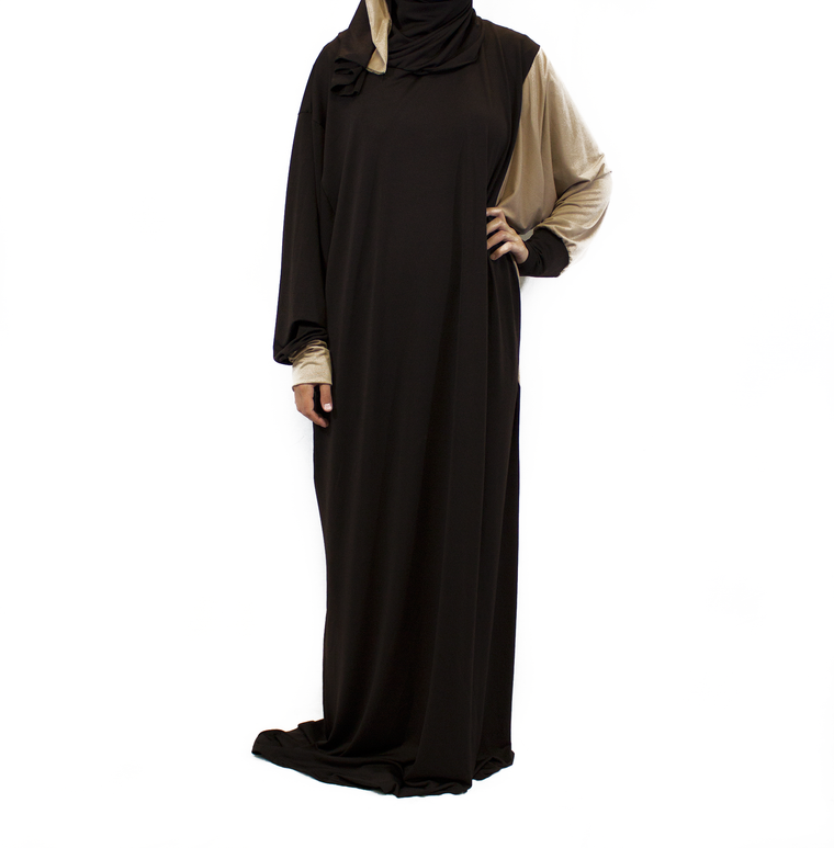 One-Piece Abaya w/ Attached Hijab - Brown