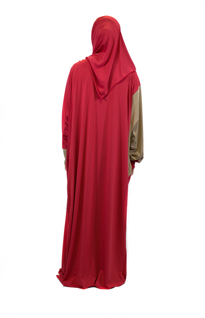 One-Piece Abaya w/ Attached Hijab - Salmon
