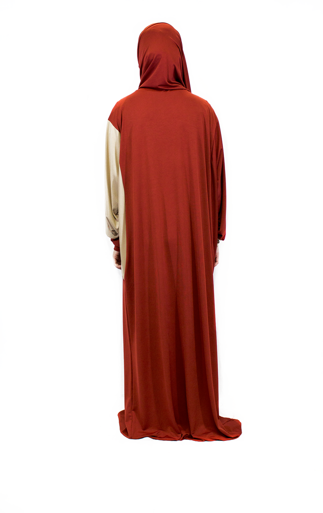 One-Piece Abaya w/ Attached Hijab - Burnt Orange