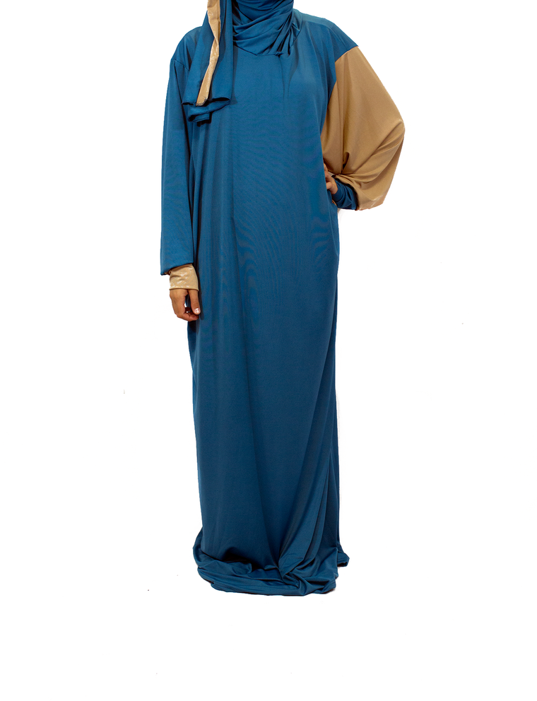 One-Piece Abaya w/ Attached Hijab - Royal Blue