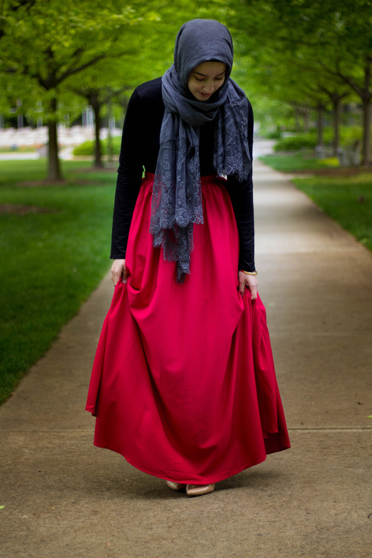 High-Waisted Maxi Skirt - Red
