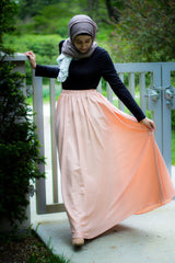 high waisted skirt in light pink with pockets