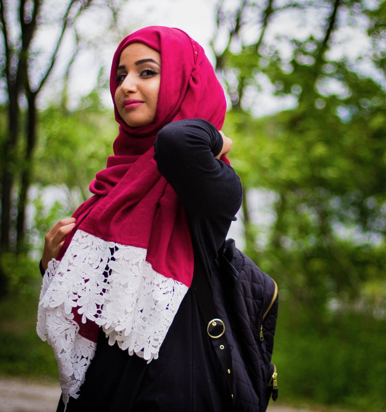 White Embroidery Lace Hijab - Dark Red