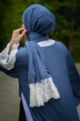 Lace Sleeve Open Abaya - Blue (Spring Meadow Lace)