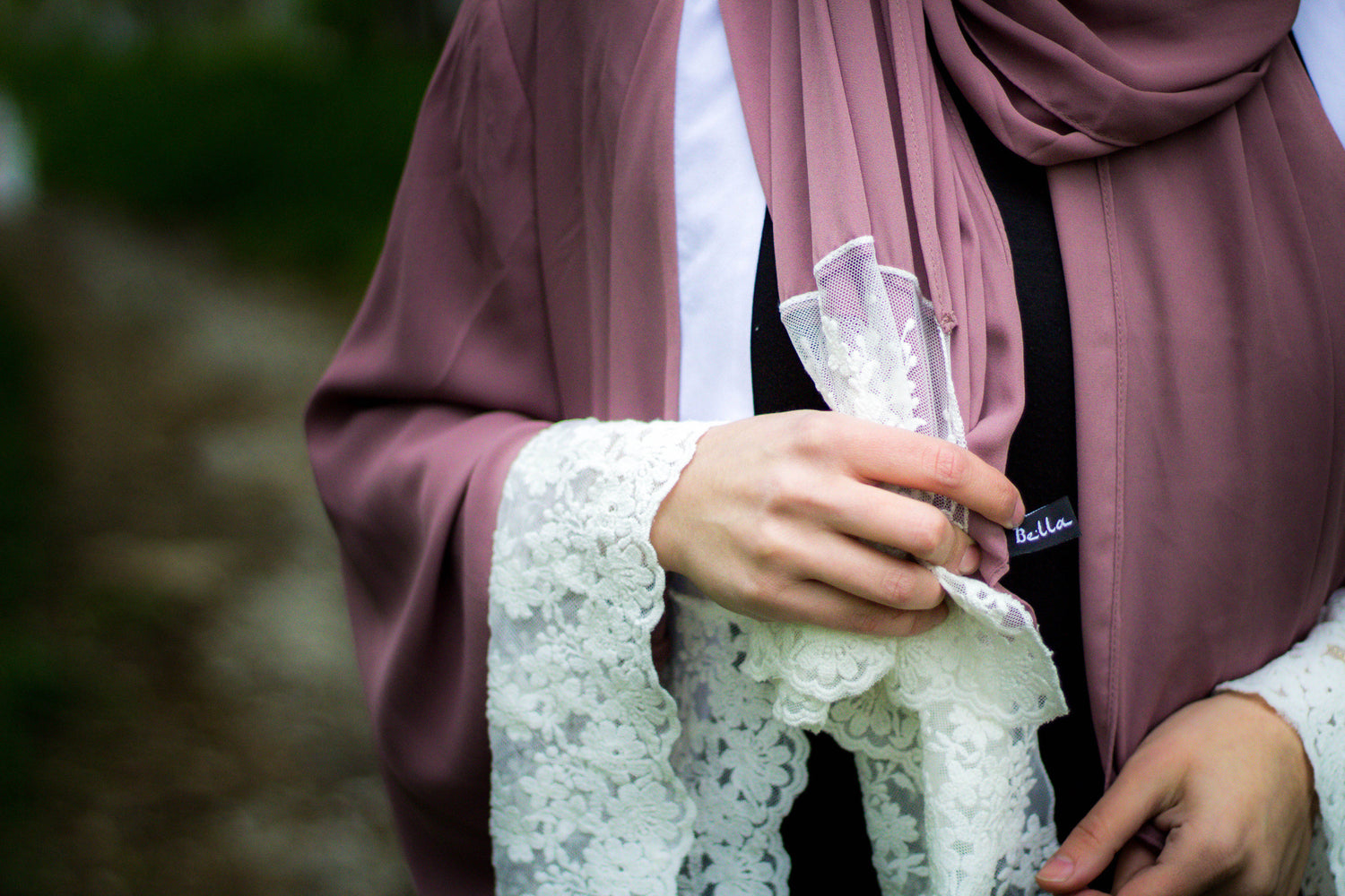 Lace Sleeve Open Abaya - Mauve (Spring Meadow Lace)