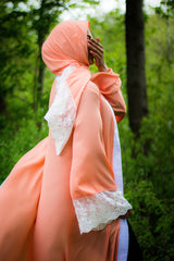 Lace Sleeve Open Abaya - Salmon (Spring Meadow Lace)