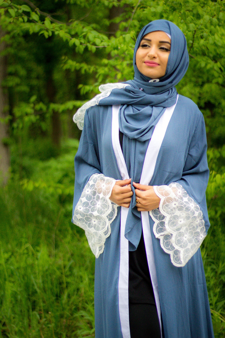 Lace Sleeve Open Abaya - Blue (Magnolia Floral Lace)