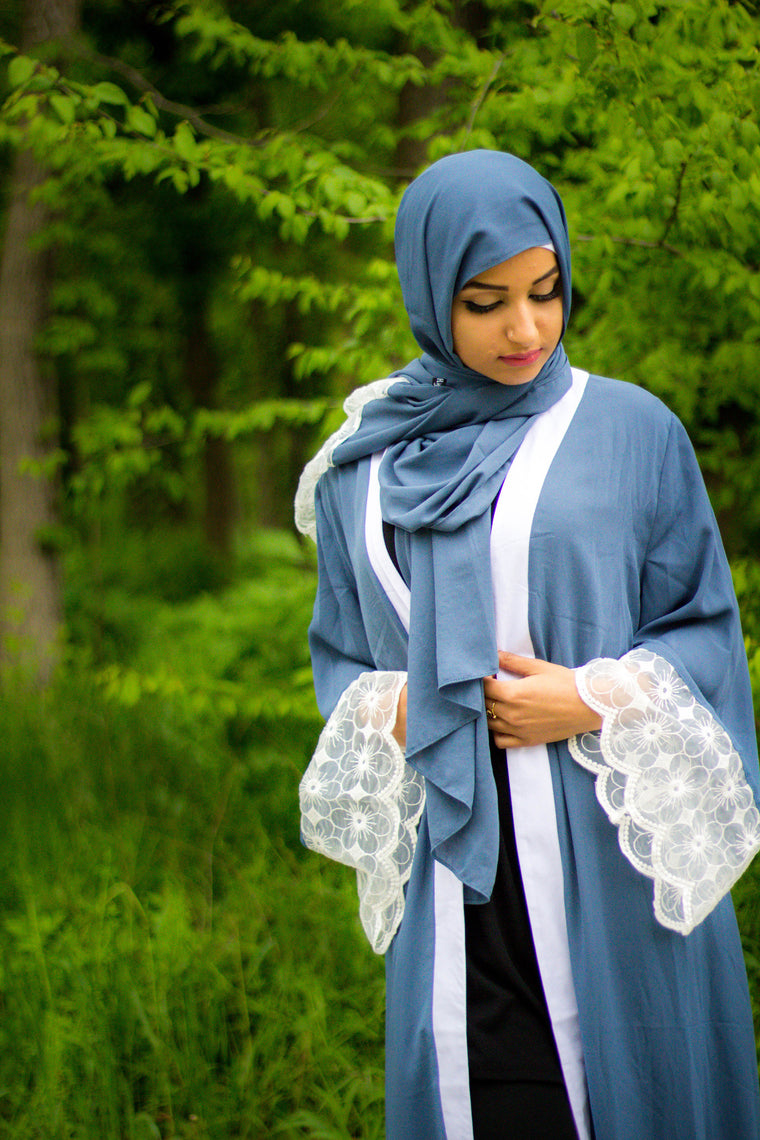 blue georgette hijab with lace on one end