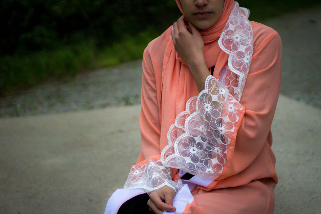 Lace Sleeve Open Abaya - Salmon (Magnolia Floral Lace)