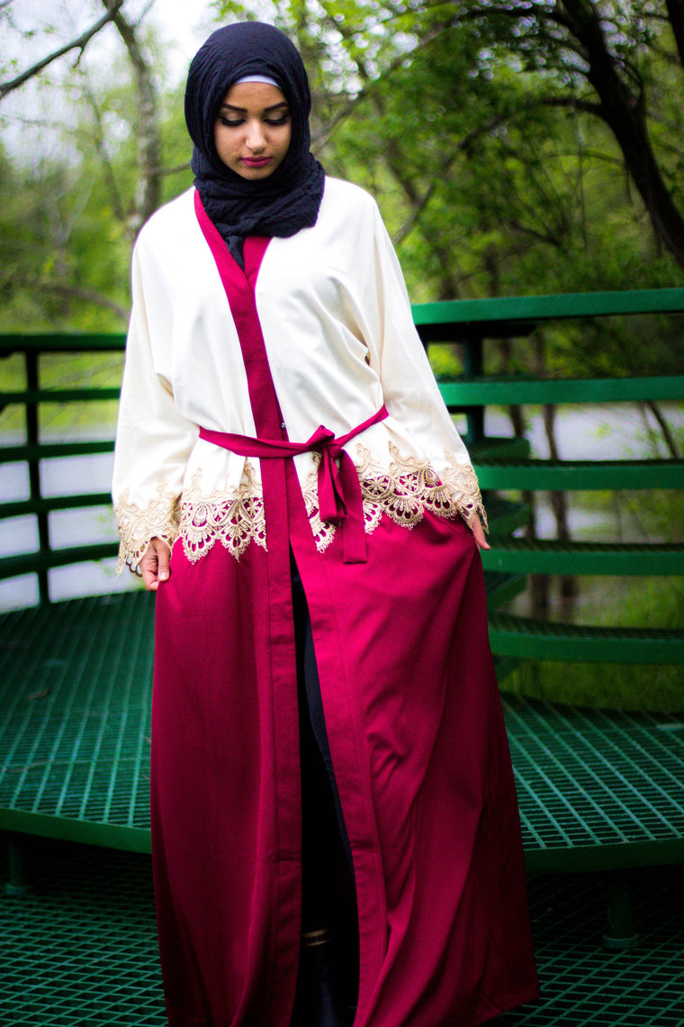 Two-Toned Abaya with Gold Lace Trim - Cream & Maroon