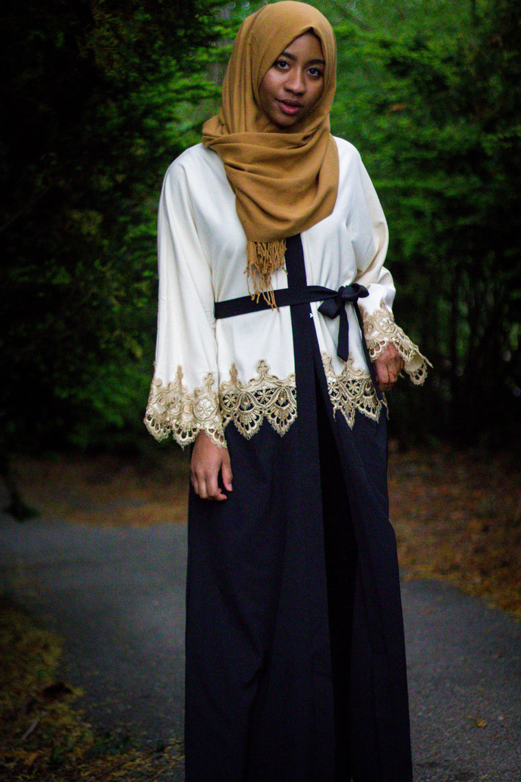 Two-Toned Abaya with Gold Lace Trim - Cream & Black