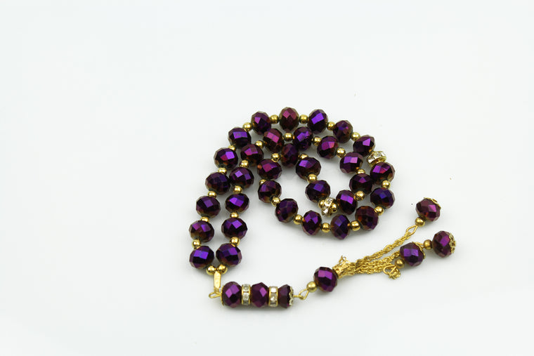 Tasbeeh with gold chain (33 beads) - Purple
