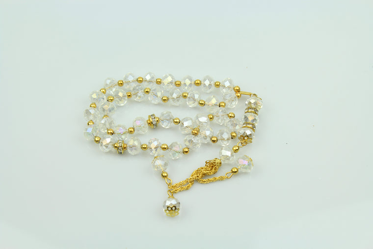 Tasbeeh with gold chain (33 beads) - Crystal