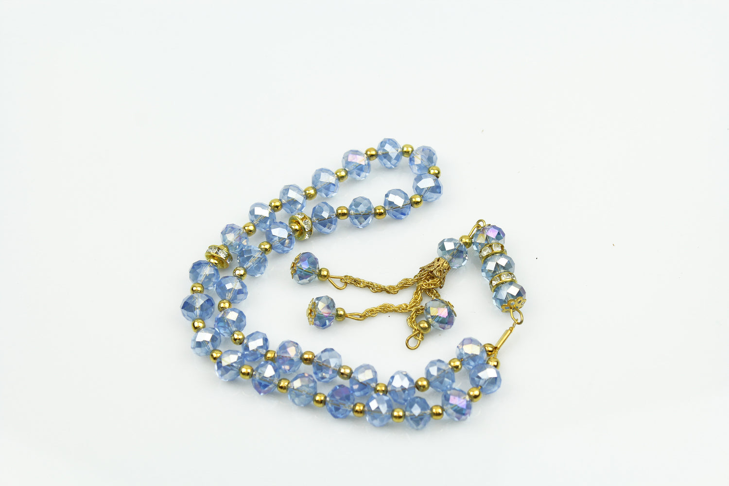 light blue and gold jeweled tasbeeh