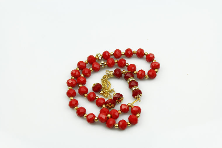 Tasbeeh with gold chain (33 beads) - Red