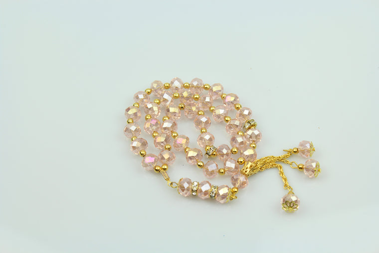 Tasbeeh with gold chain (33 beads) - Light Pink