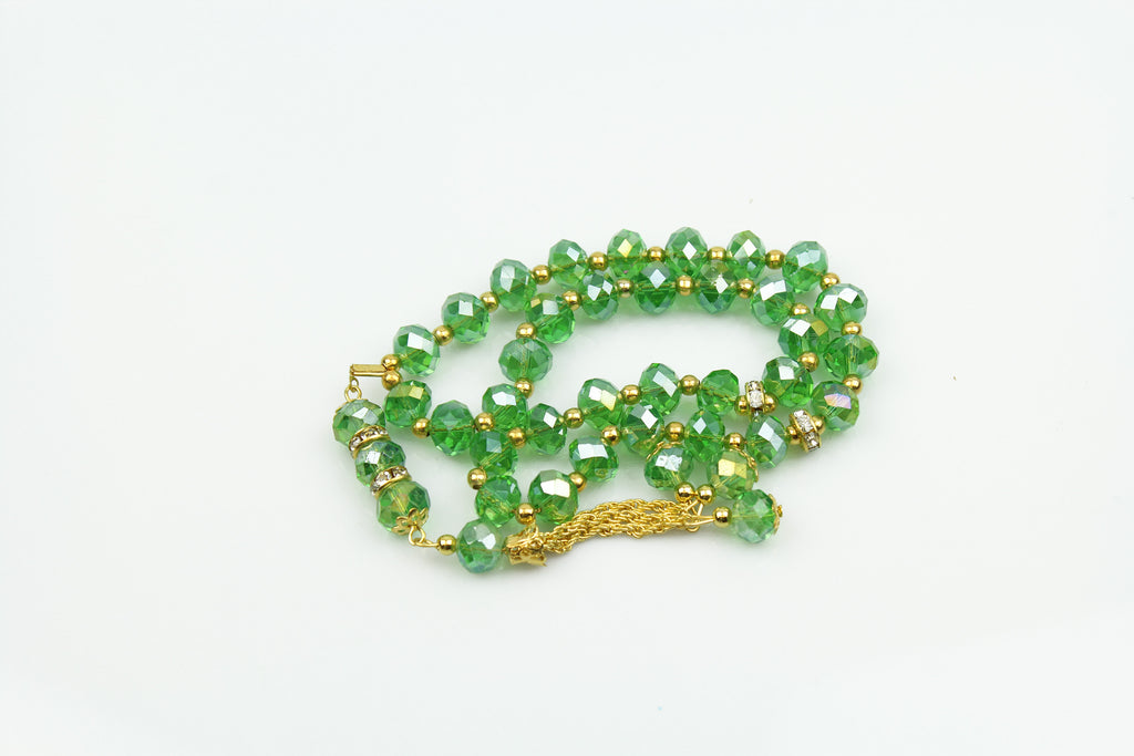 Tasbeeh with gold chain (33 beads) - Green