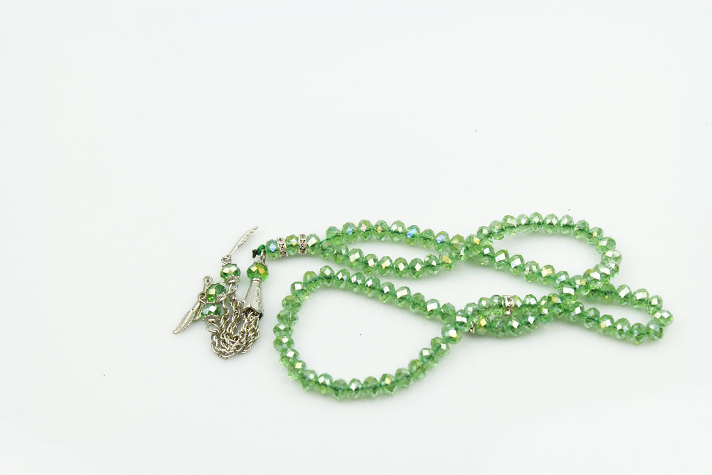 light green crystal tasbeeh with 99 beads