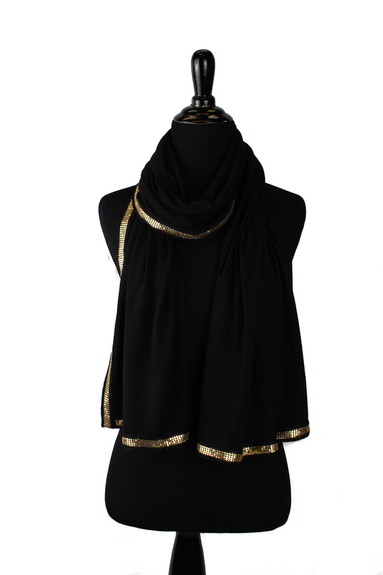 Gold Trim Jersey Hijab - Black