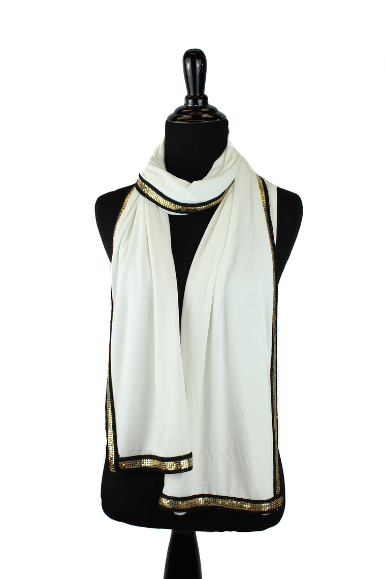 Gold Trim Jersey Hijab - Off White