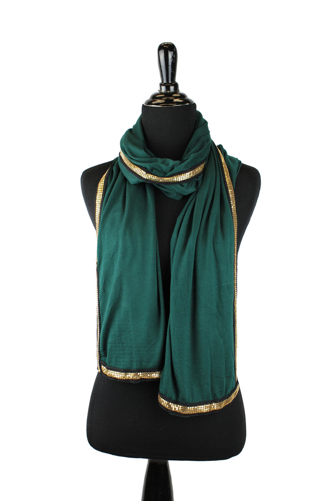 forest green jersey hijab embellished with a gold trim along the edges