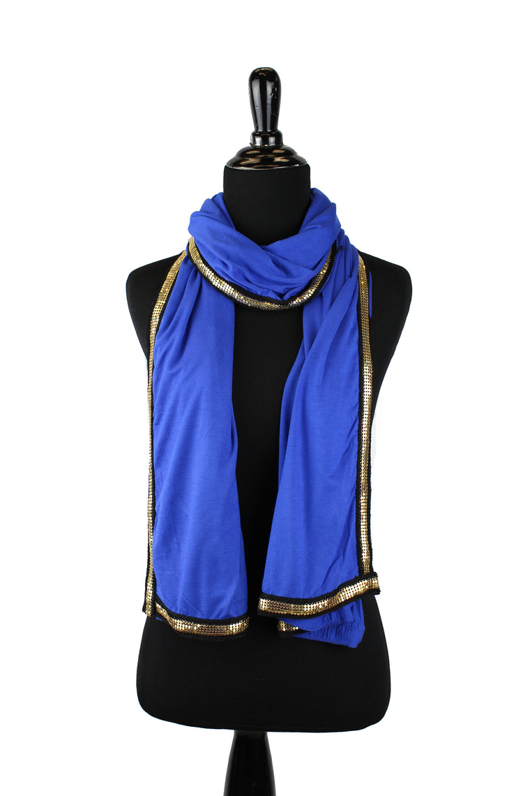 Gold Trim Jersey Hijab - Royal Blue