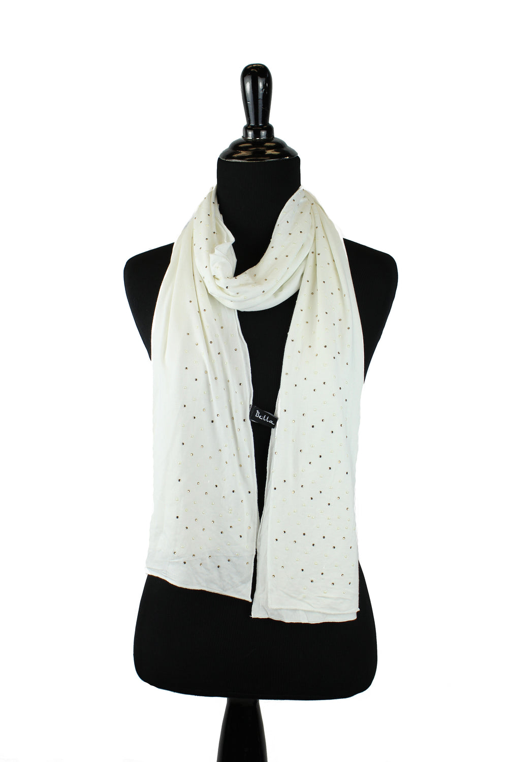 Beaded Jersey Hijab - Off White