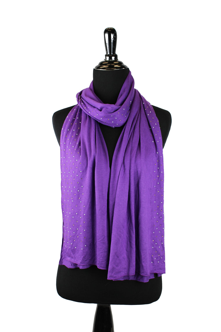 Beaded Jersey Hijab - Purple