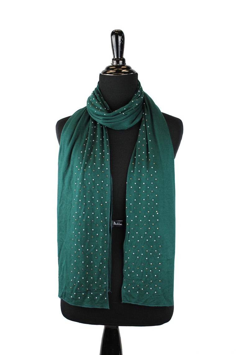 Beaded Jersey Hijab - Forest Green