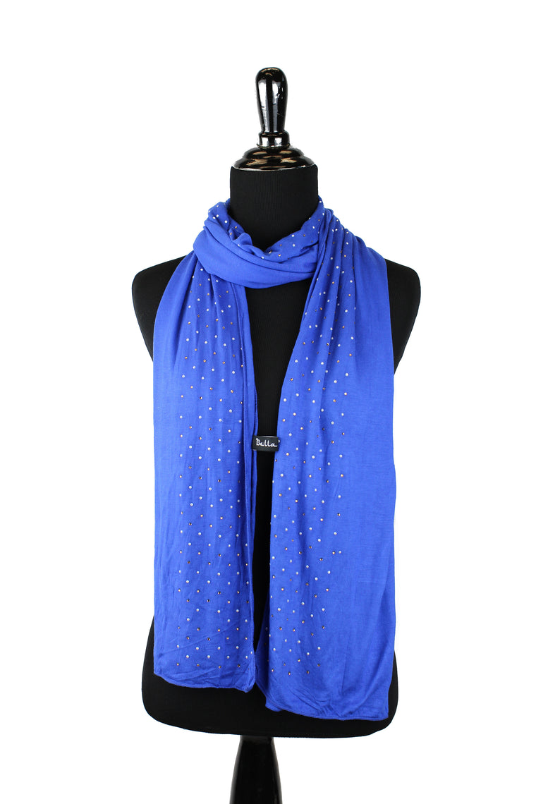 Beaded Jersey Hijab - Royal Blue