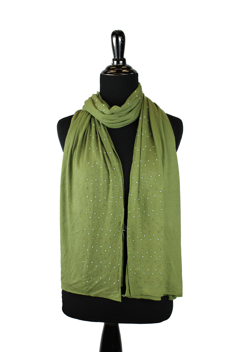 Beaded Jersey Hijab - Light Olive