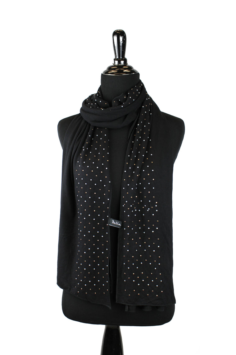 Beaded Jersey Hijab - Black