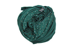forest green jersey hijab embellished with pearls