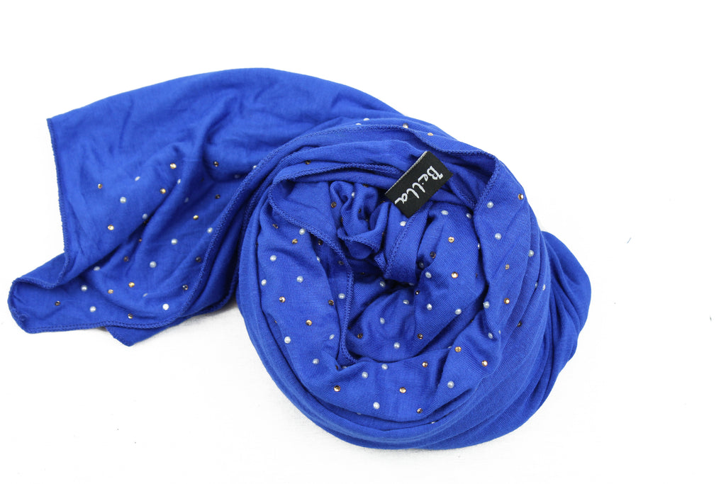 royal blue jersey hijab embellished with pearls