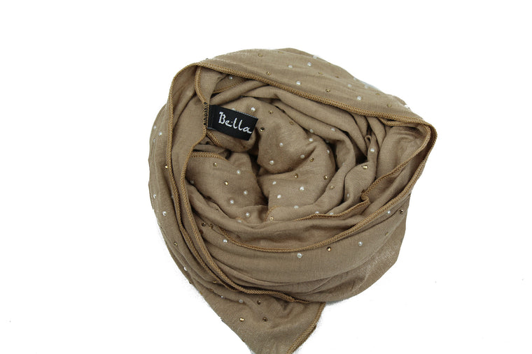 taupe jersey hijab embellished with pearls