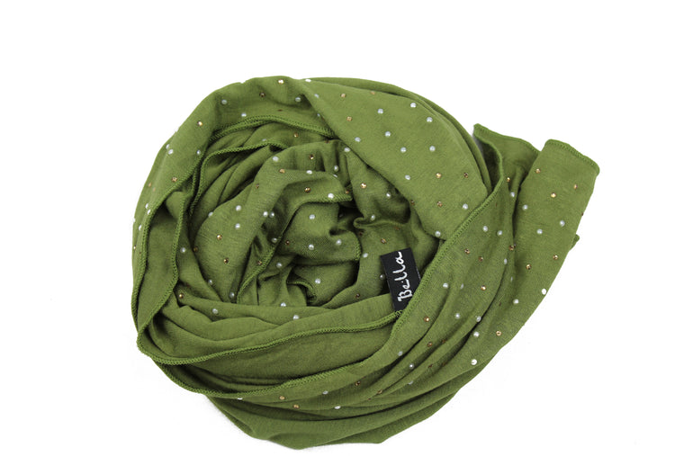 olive jersey hijab embellished with pearls