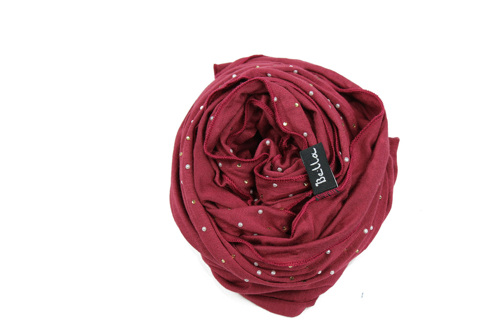 maroon jersey hijab embellished with pearls