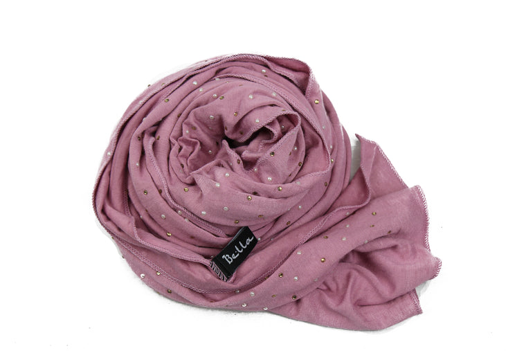mauve jersey hijab embellished with pearls