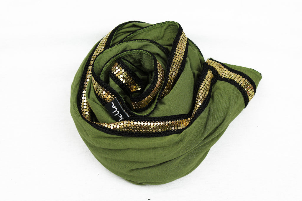 Gold Trim Jersey Hijab - Light Olive Green