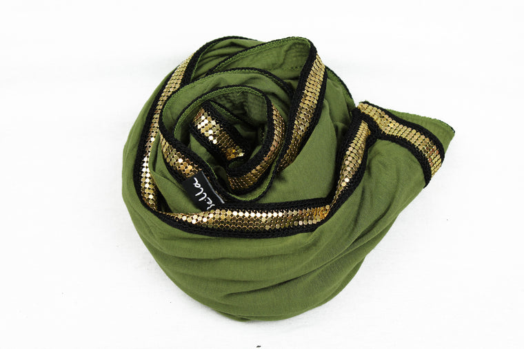olive jersey hijab embellished with a gold trim along the edges