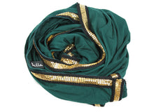 Gold Trim Jersey Hijab - Forest Green