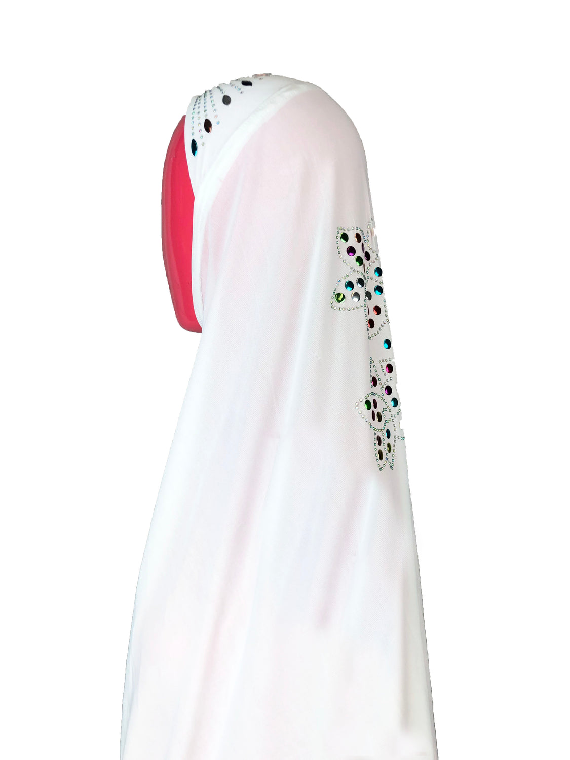 long white one piece slip on hijab with jewels