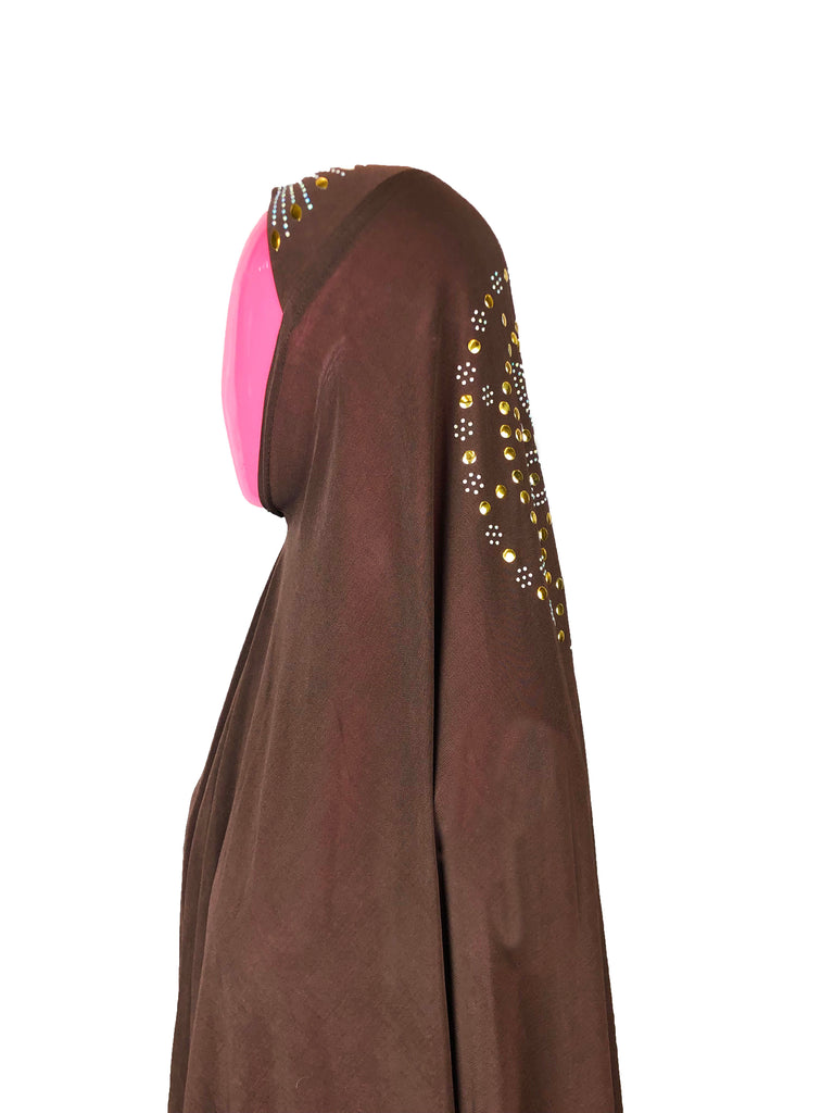 One-Piece Jewel Slip-on Khimar - Brown