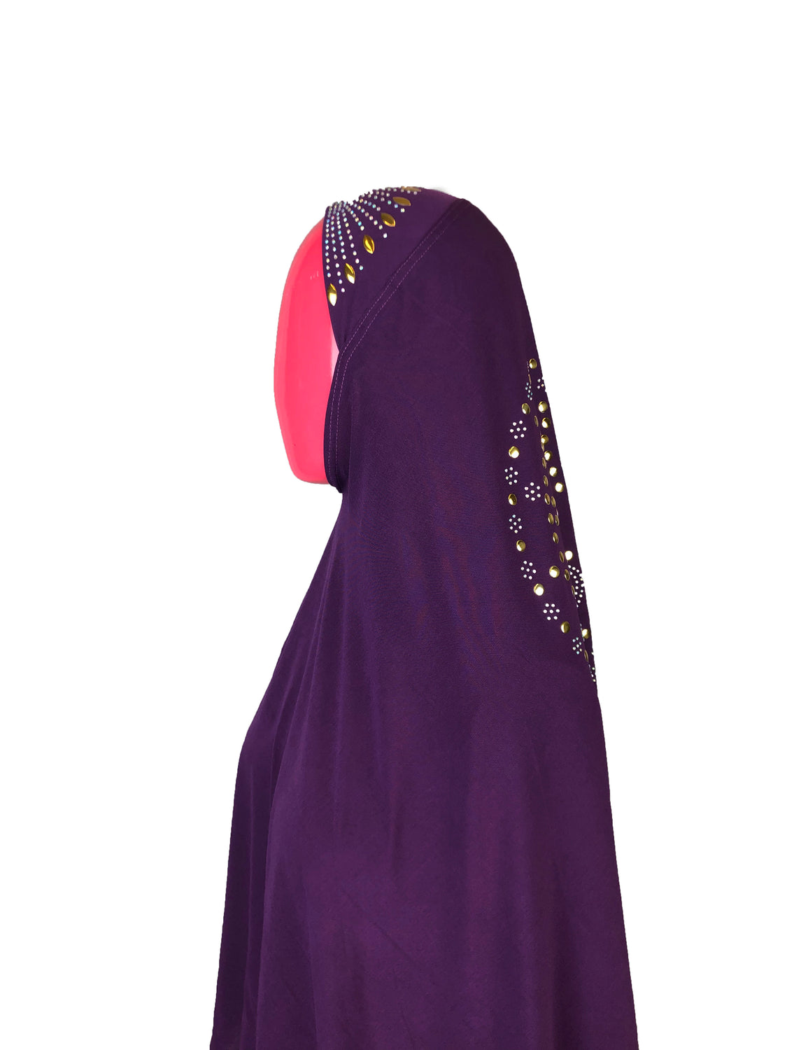 long purple one piece slip on hijab with jewels