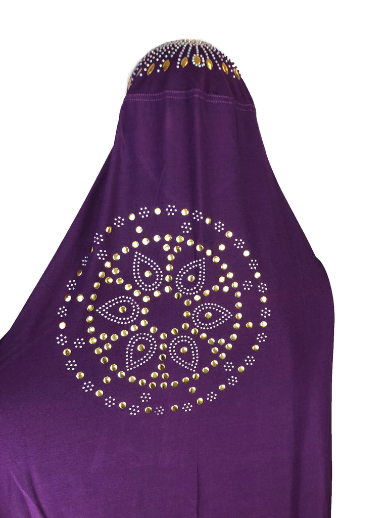 One-Piece Jewel Slip-on Khimar - Purple