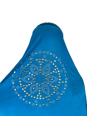 long blue one piece slip on hijab with jewels