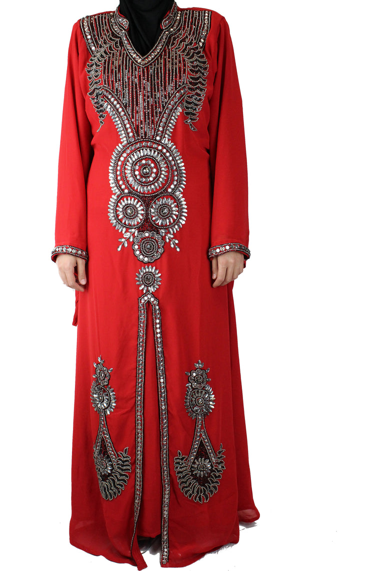 Crystal Embellished Kaftan - Red