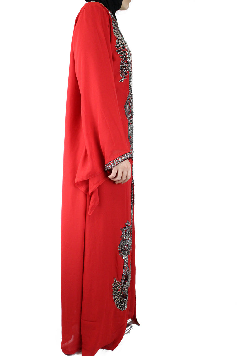 hand beaded red long sleeved maxi kaftan with jewels