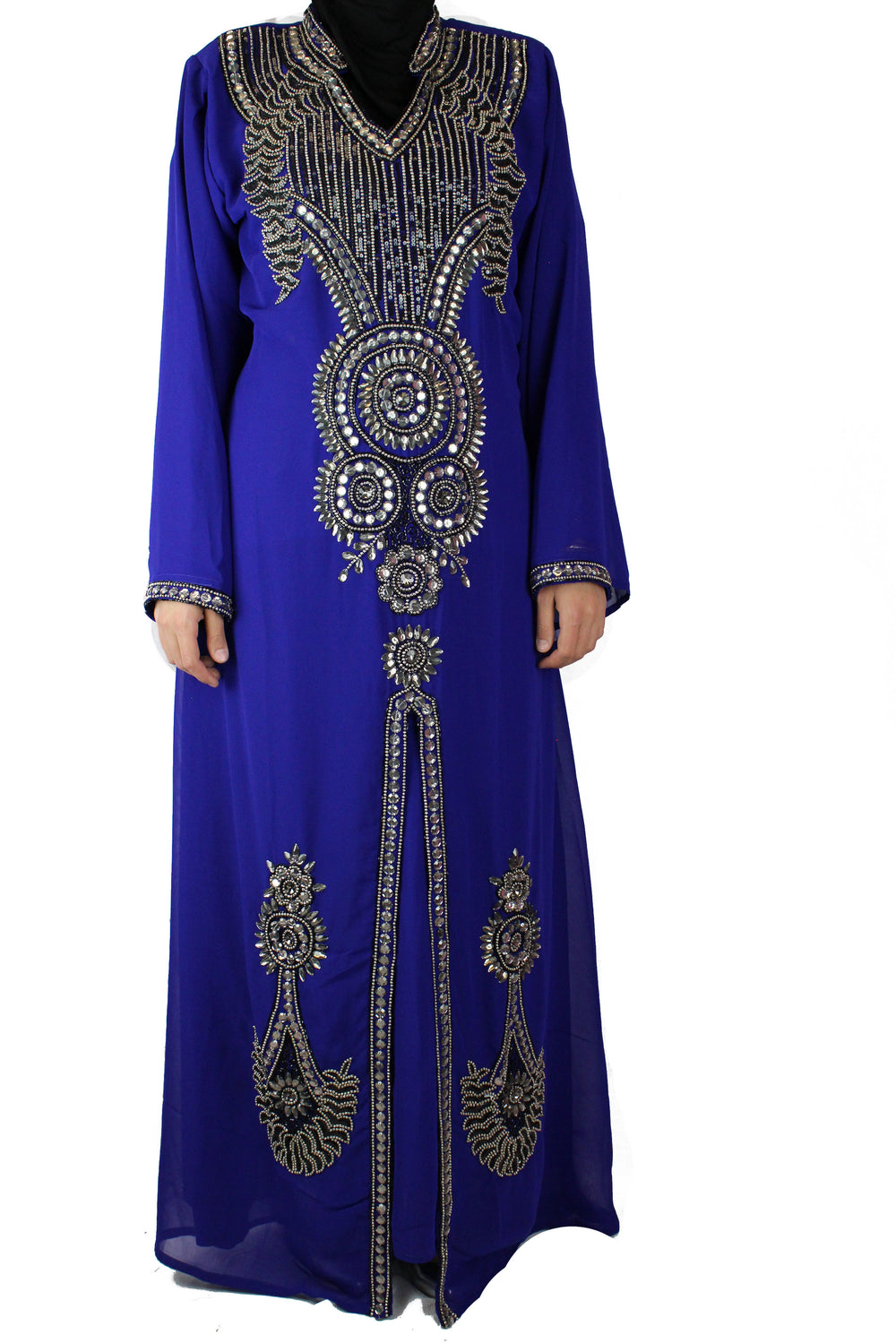 Crystal Embellished Kaftan - Royal Blue