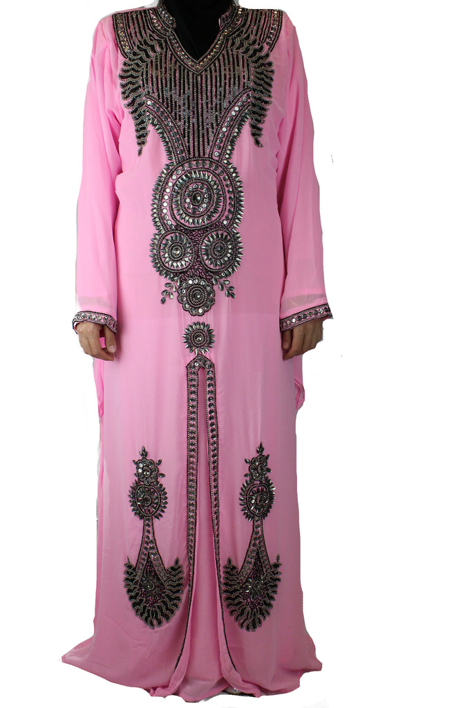 hand beaded light pink long sleeved maxi kaftan with jewels